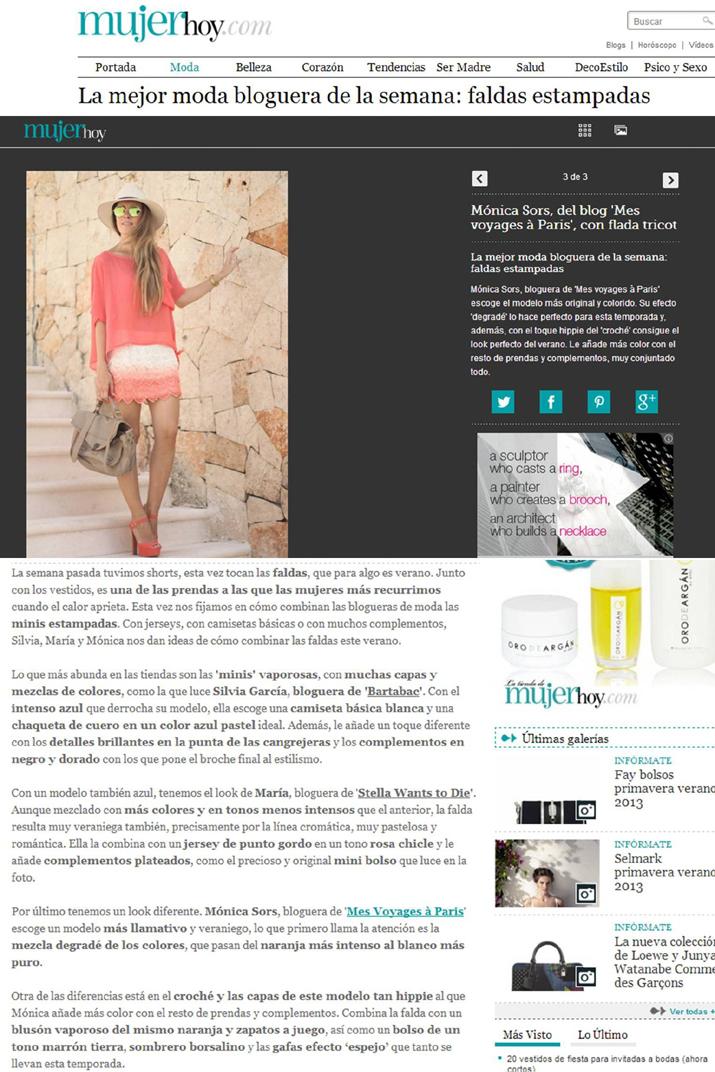 Mónica Sors, bloguera de Mes Voyages à Paris en Mujer Hoy