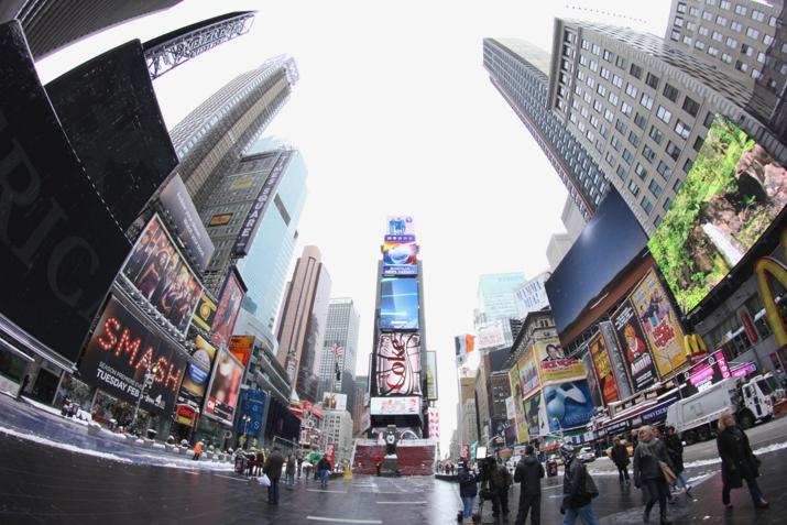 Nevando en Times Square