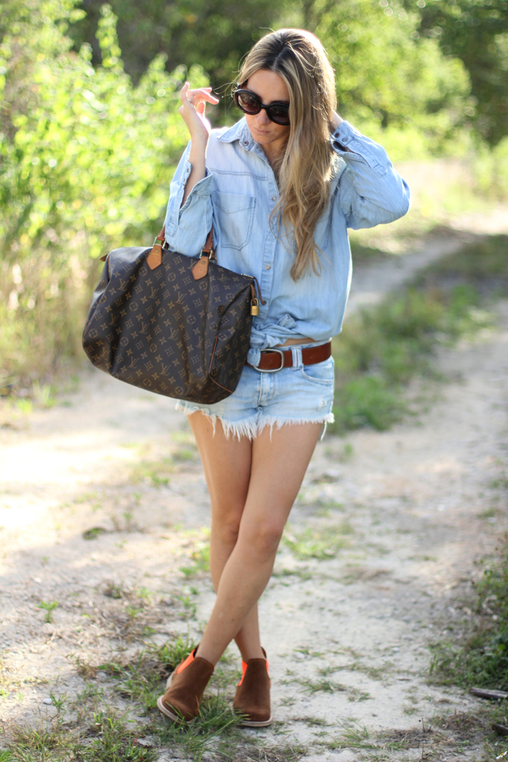 Outfit blogger denim on denim