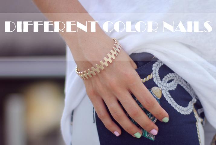 Different color nails fashion blog Mes Voyages à Paris