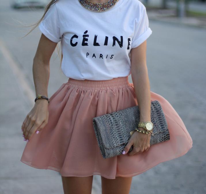 Celine logo tee fashion blogger Mónica Sors
