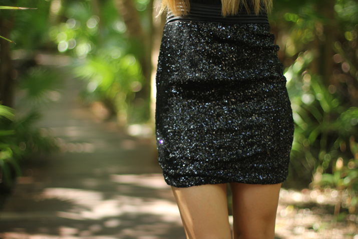 Out of Cage little black dress sequins